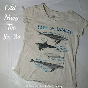 Old Navy Save The Whales Girls Tee Size M